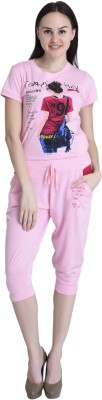 Christy World Women's Solid Pink Top & Capri Set