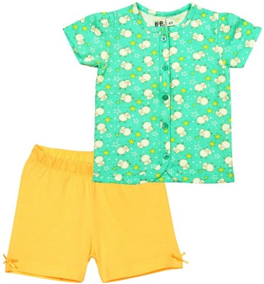 Baby Pure Baby Girl's Printed Yellow Top & Shorts Set