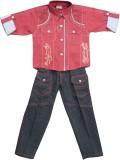 Mankoose Boys Casual Shirt Pant (Maroon)