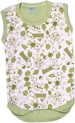Myfaa Baby Girl's Green, White Romper
