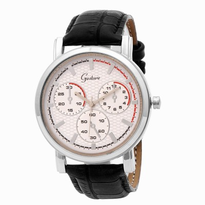 Gesture Gesture Beautiful White Dial Strap Watch Analog Watch  - For Men
