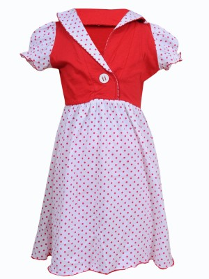 Most Wanted Girl's Gathered Red, White Dress