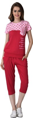 Christy World Women's Solid Red Top & Capri Set