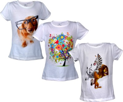 Sathiyas Graphic Print Girl's Round Neck White T-Shirt