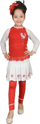 Angel Creations Girl's Gathered Red Dress