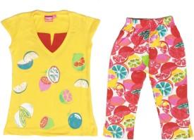 Tomato Girls Casual T-shirt Track Pants(Yellow)