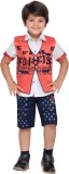AJ Dezines Boys Shirt Shorts (Red)