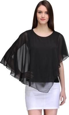 TheGudLook Casual Sleeveless Solid Women's Black Top