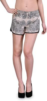 TheGudLook Printed Women's Beige Basic Shorts
