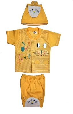 Belle Girl Baby Girl's Printed Yellow Top & Shorts Set