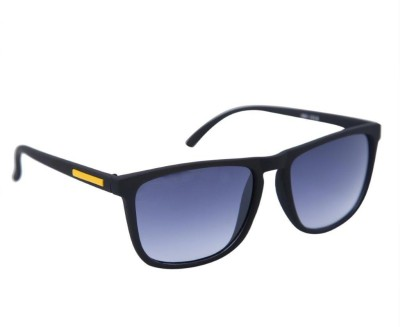 Gansta Gansta GN-1018 sleek Black wayfarer style sunglass with yellow pin Wayfarer Sunglasses(Grey)