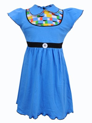 Most Wanted Girl's Gathered Blue Dress