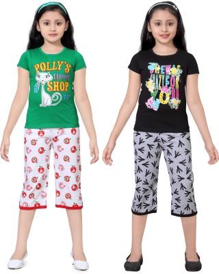 Sini Mini Girl's Printed Multicolor Top & Capri Set