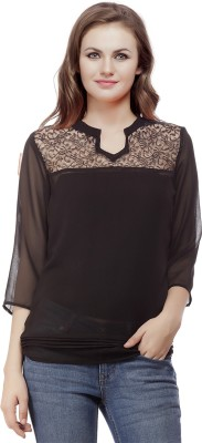 Mask Lifestyle Casual 3/4 Sleeve Solid Women,s Black Top