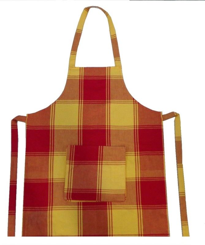 Adt Saral Cotton Apron Free Size(Yellow, Red, Single Piece)