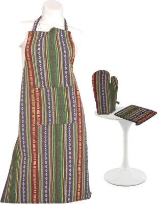 Flazee Home Trends Green, Brown Cotton Kitchen Linen Set