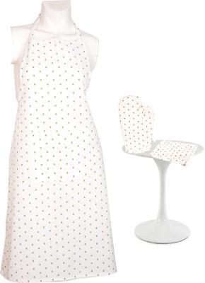 Flazee Home Trends White, Green Cotton Kitchen Linen Set