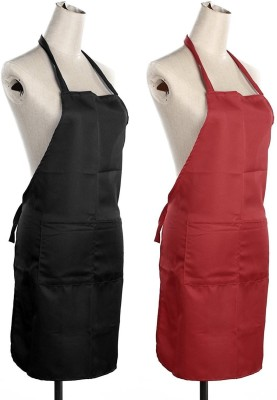 Yellow Weaves Polyester Apron Free Size(Black, Red, Pack of 2) at flipkart