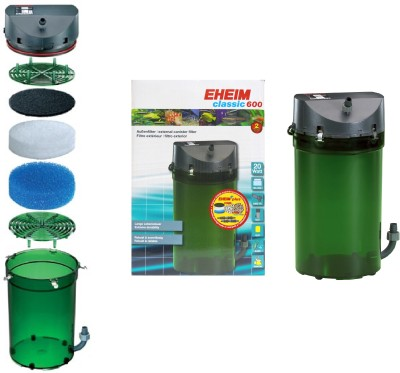 Eheim Classic 600 External Canister Aquarium Filter(Mechanical Filtration for Salt Water and Fresh Water)