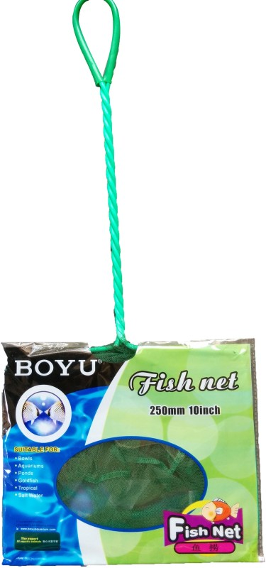 BOYU High Quality Fish Tank Green Net - 250mm/ 10 Inch ** COLOURFUL AQUARIUM ** Aquarium Fish Net(24 cm x 24 cm)