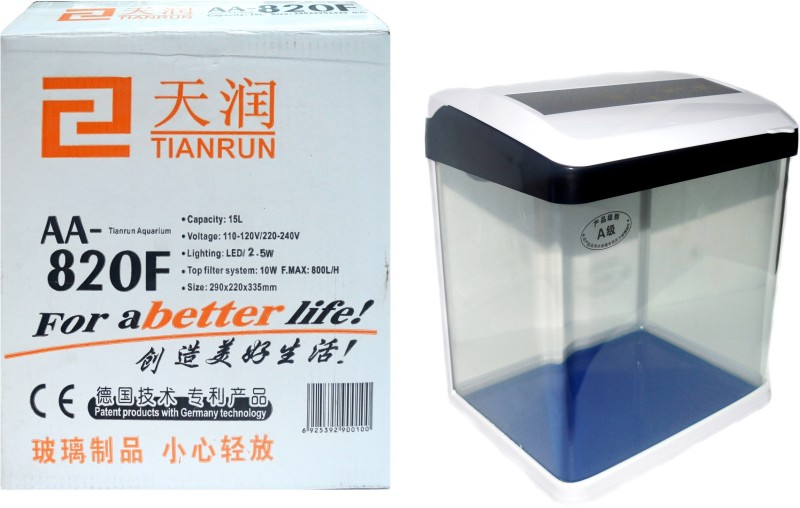 Tianrun Mini Fish Tank AA-820F (Patent Products With Germany Technology For A Better Life) | Rectangle Aquarium Tank(15 L)