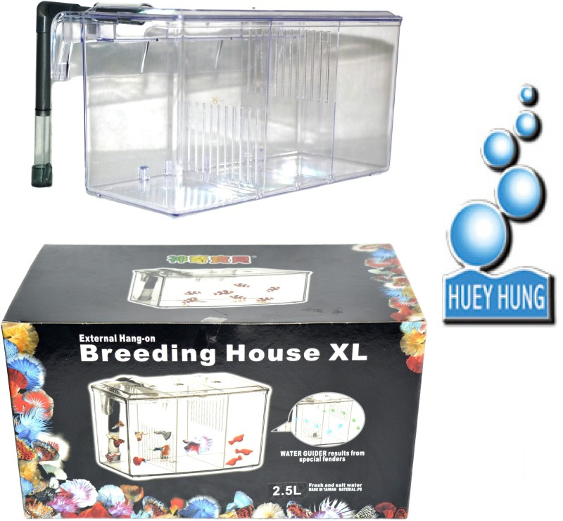 HUEY HUNG External Hang-on Breeding House XL (Capacity-2.5Liter | WATER GUIDER Results From Special Fenders) Rectangle Aquarium Tank(2.5 L)