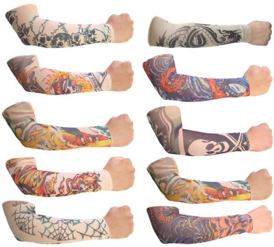 99DailyDeals Pack Of 10 High Quality Fun And Funky Stretch Cloth Fancy Dress Costume Fake Art Tattoo Nylon Arm Sun Protection Sleeves Nylon Arm Warmer