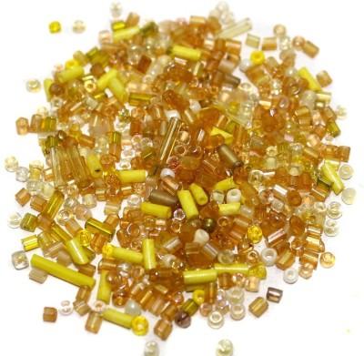 Jaunty Beadsnfashion Seed Bugles Beads Yellow Assorted (100 Gm)