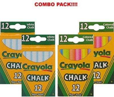 Crayola Crayola Non-Toxic White Chalk(12 ct box)and Colored Chalk(12 ct box) Bundle (2x combo)