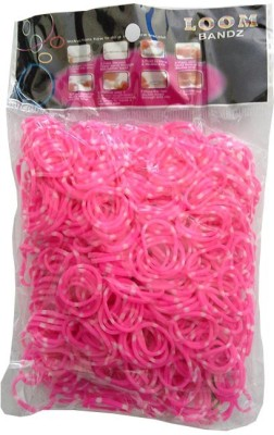 Shatchi Polka Dot Pink 600 Loom Band Refill Kit Kids Arts Crafts Toys With S Clips & Hook, Birthday, Anniversary, Festival