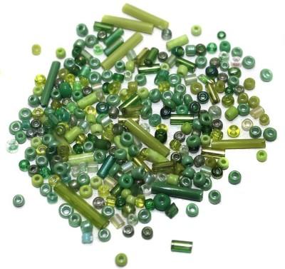 Jaunty Beadsnfashion Seed Bugles Beads Green Assorted (100 Gm)