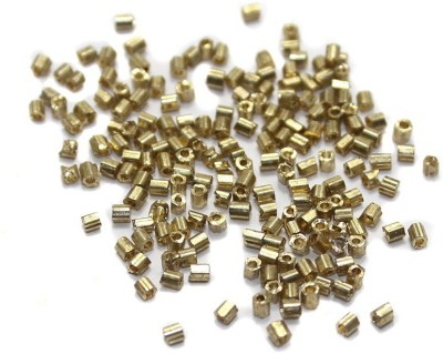 Jaunty Beadsnfashion Seed Beads Bugles Golden (100 Gm)