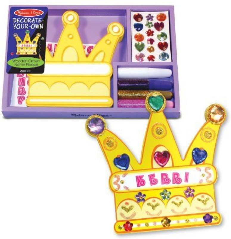 Melissa & Doug Decorate-Your-Own Wooden Crown Name Plaque