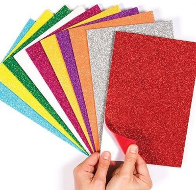 Atanands Self-Adhesive Glitter Foam Sheets Sticky Back Multicolor Pack of 10