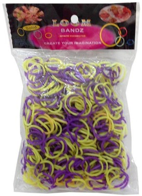 Shatchi 2 Tone Purple & Yellow 600 Loom Band Refill Kit Kids Arts Crafts Toys With S Clips & Hook, Birthday, Anniversary, Festival