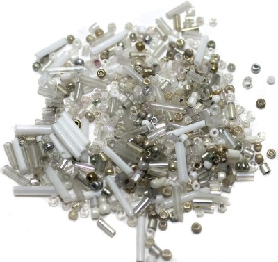 Jaunty Beadsnfashion Seed Bugles Beads White Assorted (100 Gm)