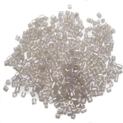 Jaunty Beadsnfashion Cut Seed Bugles Beads White Smoke Rainbow (100 Gm)