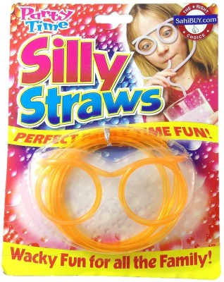 Sahibuy Party Time Orange Eye Glass Goggle Shaped drinking silly straw
