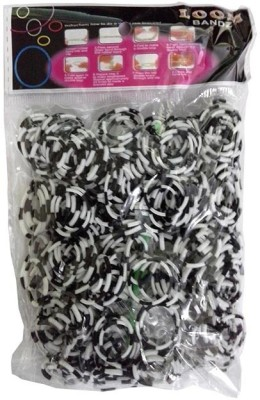 Shatchi 8 Tone Black & White 600 Loom Band Refill Kit Kids Arts Crafts Toys With S Clips & Hook, Birthday, Anniversary, Festival