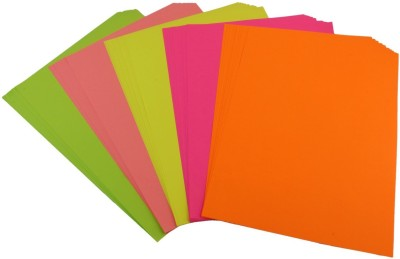 Pigloo Double Sided A4 Fluorescent Neon Paper for Art & Craft, Hobbies & Scrapbooking - 100 Sheets, 5 Colour, 80 GSM