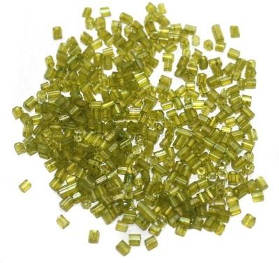 Jaunty Beadsnfashion 2 Cut Seed Bugles Beads Trans Olive Green (100 Gm)