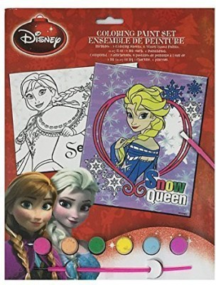 Disney New Frozen Coloring Paint Set Snow Queen Disney LIcensed Product includes Coloring Sheet, Paint and Paintbrush