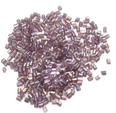 Jaunty Beadsnfashion 2 Cut Seed Bugles Beads Purple Rainbow (100 Gm)