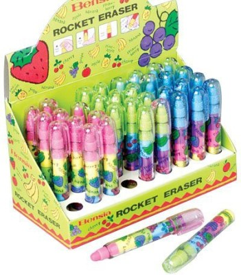 US Toy Assorted Color And Scent Rocket Pen Style Erasers
