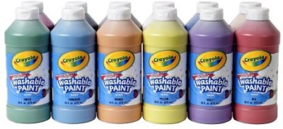 Crayola Crayola Non-Toxic Washable Tempera Paint Set, 1 pt Squeeze Bottle, Assorted Brilliant Color, Set of 12