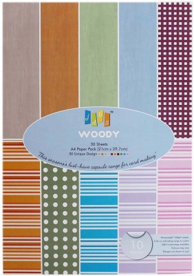 Jags Craft Paper for Card & scrapbook - 10 Designs 30 Sheets Size A4 (Woody WY)