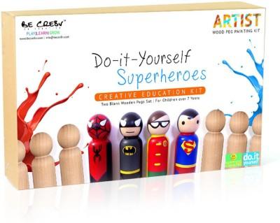 Be Cre8v Be Cre8v Super Hero Wooden Peg Painting Kit