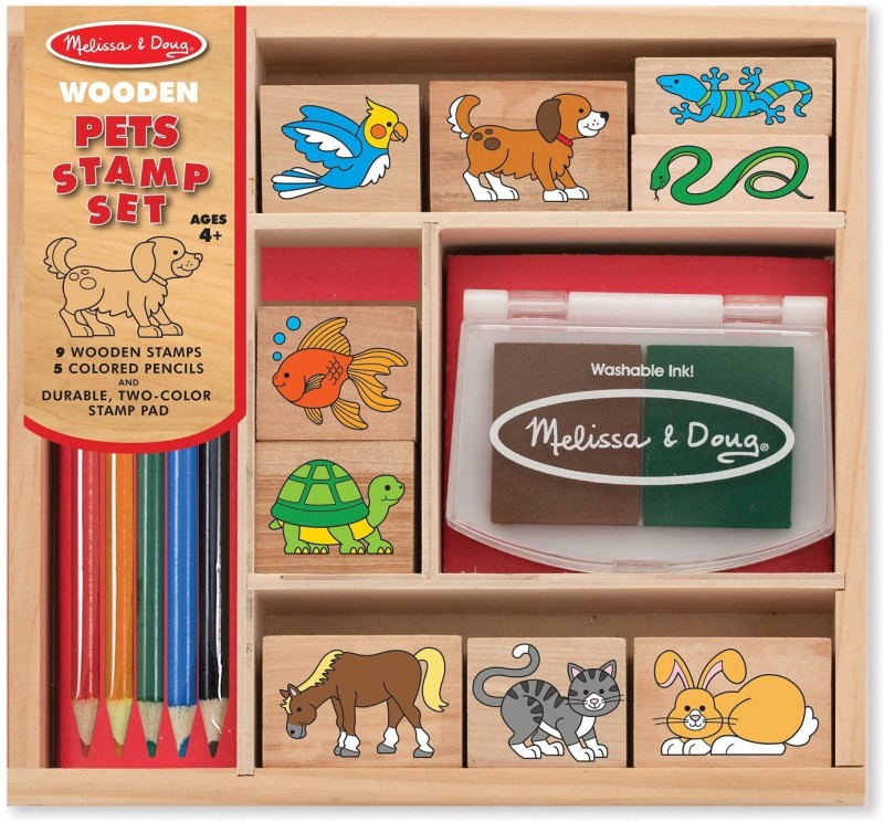 Melissa & Doug Wooden Stamp Set Pets