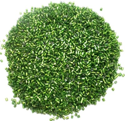 Jaunty Beadsnfashion Silver Line Seed Bugles Beads Green (100 Gm)