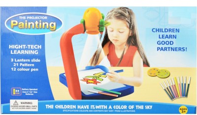 Zest4toyZ The Painting Projector High Tech Learning Tool, 3 Lantern Slide With 21 Patterns And 12 Colour Pens